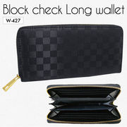 ブロックチェックカジュアル財布 三方束入れ 紳士長財布