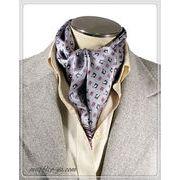 エレガント袋縫い幾何学柄メンズ用100%シルクスカーフ 10130a