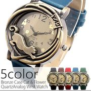 アンティーク調立体フェイス 黒猫デザインのカジュアルデザインウォッチ 全5色 SPST021 レディース腕時計