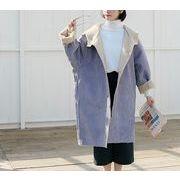 コート 裏起毛 防寒保暖 無地 フード付き プレッピースタイル ゆったり 全2色 r3001917