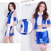 【即日出荷】青×白 チアガール レースクイーン コスプレ衣装【8084/5】