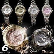 【Plaisir プレジール】きらきらラメorアンティーク調♪メタルバンド レディース ウォッチ 腕時計