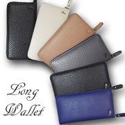 【牛革】gロゴ財布 ラウンドファスナー レザー 長財布/カード&小銭入れ付きロングウォレット