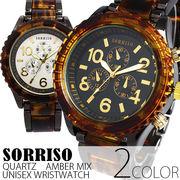 正規品SORRISOソリッソ シチズンミヨタムーブ べっ甲カラーのフェイクダイヤル時計 SRHI14 メンズ腕時計