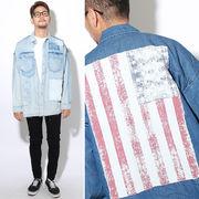 【再入荷】 メンズ リペア 星条旗ワッペン ビッグシャツ / デニムシャツ BIG ビック 長袖