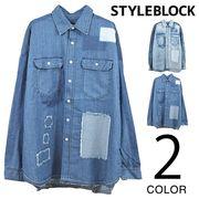 リペア&バックデザインビッグシャツ/sb-560491