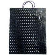 特大ポリ手提げ袋 水玉(黒地/白) 巾48×長さ60×横マチ5cm 厚み0.08mm