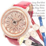 文字盤が回る ぐるぐる時計 スピナー シチズンMIYOTAムーブメント 革ベルト レディース腕時計 RT003