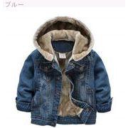 児童 デニム衣類 男児 裏起毛 手厚い アウターウェア 冬服 韓国風 新品 デニムジャケ