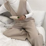 羊毛の シャムズボン 女息子学生 韓国風 早春 新しいデザイン ルース 単一色 レジャー