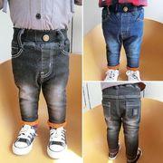 男児 冬 新しいデザイン パンツ 児童 裏起毛 手厚い ジーンズ 才 女児 ズボン 息子