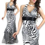 サテンホルター裾オーガンジーエレガントプリントドレス