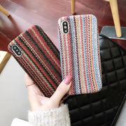 ファブリックiPhoneケース ツイード調iphone7ケース ストライプ柄