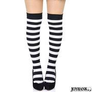 大きめボーダーニーハイソックス☆ブラック&ホワイト【オーバーニー/靴下】