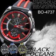 【選べるケース有or無】  腕時計 ラバーバンド デザインクロノグラフ ウォッチ 男性用◇BO-4737