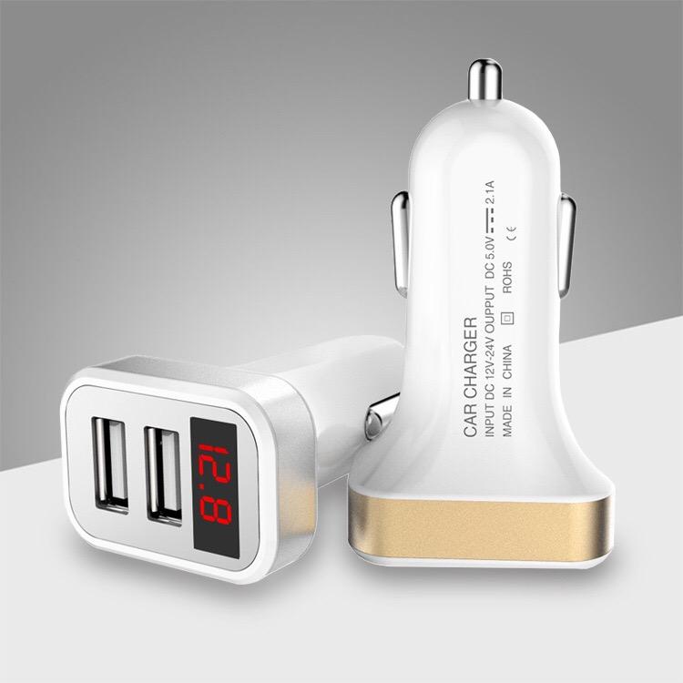 2ポートUSB車載充電器 数字電圧計 USB 充電 車載 USB充電器 電圧計 シガーソケット 快速充電 5V 2.1A