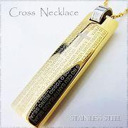 ステンレス ネックレス プレート ライター型 クロス ゴールド レディース メンズ アクセサリー