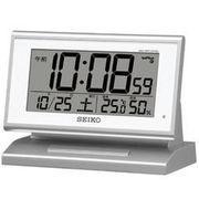 SEIKO セイコー 目覚まし時計 自動点灯 電波 デジタル 温度 湿度 夜でも見える SQ768S