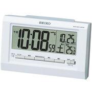 SEIKO セイコー 目覚まし時計 常時点灯 電波 デジタル 温度 夜でも見える SQ755W