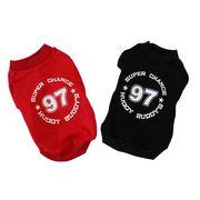 97ロゴトレーナー レッド/ブラック (S-XL、DM、DLサイズ)ドッグウェア 犬の服