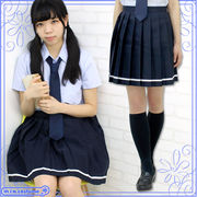 ■送料無料■ 無地プリーツスカート単品 色:紺×白ライン サイズ:M/BIG