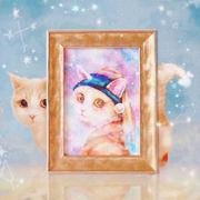 ポストカード ねこ「月の耳飾りのネコ」