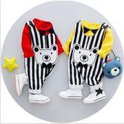 ストライプストラップ 綿 子供 スーツ セット 子供 スーツ 子供 かわいい バージョン