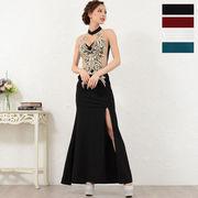 3036豪華刺繍セクシースリットフリルロングドレス パーティードレス キャバドレス