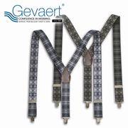 【GEVAERT】■サスペンダー■35mmY型マドラスチェック★ベルギーの老舗ゲバルト社★日本製