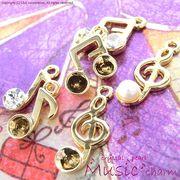 "★L&A original charm★音符チャーム★K16GP★パール&クリスタル&フレーム★120 ""Music Note"""