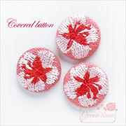 単価29.8円♪包みボタン♪花模様♪桜♪デコパーツ♪貼り付け♪さくら/サクラ/刺繍/10個♪