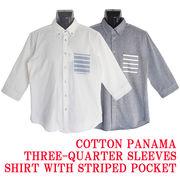 【2018SS新作】コットンパナマ ボーダーポケット付き クロップドスリーブ ボタンダウンシャツ