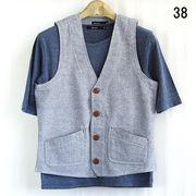 5分袖Tシャツ付き ダンガリー ベストアンサンブル
