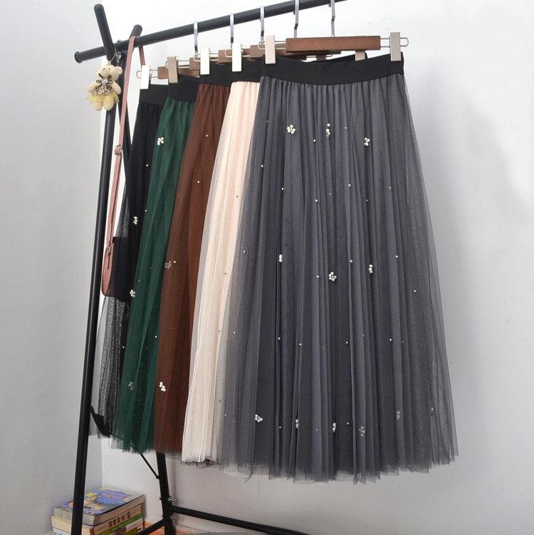 ビジュー付きロングチュールスカート マキシ丈スカート
