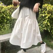 夏 新しいデザイン 韓国風 風 何でも似合う ゴムひも 不規則な ハイウエスト 着やせ