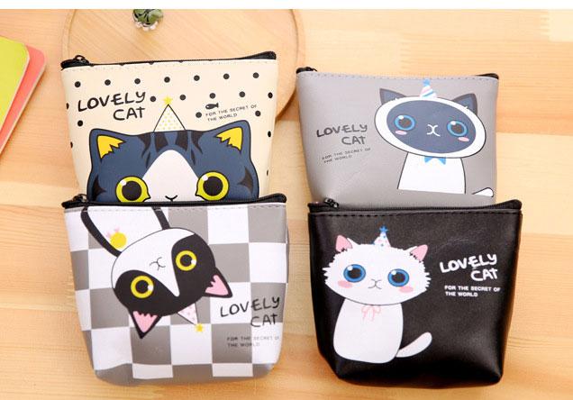 コインケース 鍵/小銭入れ カード収納ケース かわいい猫柄 合成革財布