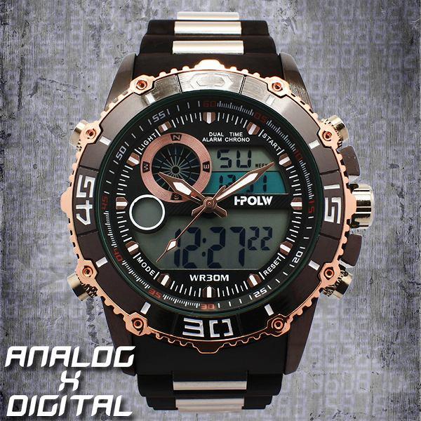 アナデジ デジアナ HPFS622-BKPG アナログ&デジタル 防水 ダイバーズウォッチ風メンズ腕時計 クロノグラフ
