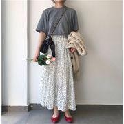 韓国 ポルカドット シフォン スカート 女 ハイウエスト 着やせ スウィート 学生 プリ