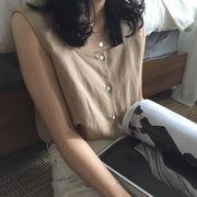 夏 女性服 新しいデザイン 韓国風 アンティーク調 着やせ ノースリーブ 単一色 ボトム
