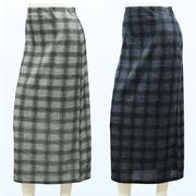 ミセス 格子柄 ロング タイト スカート