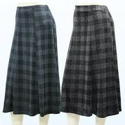 【秋物】レディース スカート チェック柄 6枚剥ぎ スカート