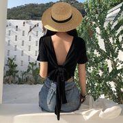 夏 新しいデザイン 韓国風 単一色 背中開き 半袖Tシャツ 女 短いスタイル 包帯 小