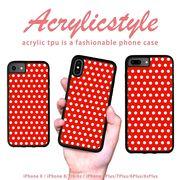 iPhone 7 8 X ケース 水玉 赤色 かわいい