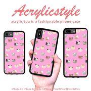 iPhone 7 8 X ケース アニマル 動物 猫 パターン 水玉 ピンク