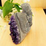 激レア! アメジストと熔岩石のコラボ 手彫り 彫刻 トカゲ 670g   天然石 インテリア 置物