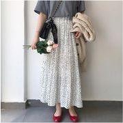 レディースボトムス 2色 ドット柄 人気 美ライン ミディアム丈スカート シフォン フレアスカート
