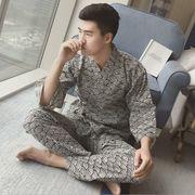 メンズ  パジャマ セットアップ ルームウエア 和風 部屋着 浴衣 ガーゼ 全2色