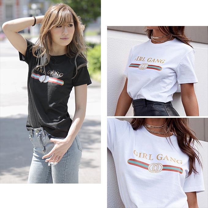 2018SS レディース プリント ロゴ Tシャツ カットソー