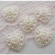 5個 パール カボション ハート型 薔薇柄 上品 ホワイト オフホワイト ブローチ ヘアアクセ 手芸