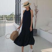 アンティーク調 韓国風 フリル ホルターネック ワンピース 女 夏 新しいデザイン 中
